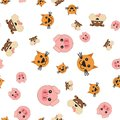 Seamless pattern of pig and dog cat heads Royalty Free Stock Photo