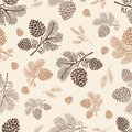 Seamless pattern pine cone Royalty Free Stock Photo