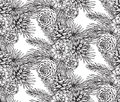 Seamless pattern with pine cones and branches.