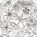 Seamless pattern with pine cones, Christmas bells, spices and citrus fruit.