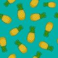 Seamless Pattern ,Pineapple on Azure Background Royalty Free Stock Photo