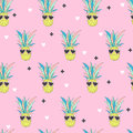 Seamless pattern with Pineapple in pop-art style