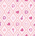 Seamless pattern with pink and beige diamonds Royalty Free Stock Image