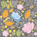 Seamless pattern, pink, blue flowers, orange leaves on a dark gray background.