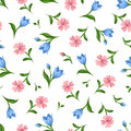 Seamless pattern with pink and blue flowers. Vector illustration.