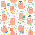 Seamless Pattern - Pink Cats Studing School Royalty Free Stock Images