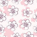 Seamless pattern with pink cherry blossom