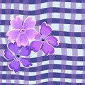 Seamless pattern pink delicate flowers on a background of a cage of modern purple hues