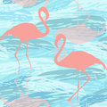 Seamless pattern with pink flamingo colourful illustration silhouettes of a flamingos and aqua Stock Images