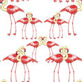 Seamless pattern Pink flamingo couple Vector illustration