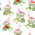 Seamless pattern pink flamingo with flowers and plants white bac