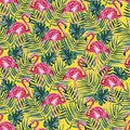 Seamless pattern with pink flamingo and palm leaves on a yellow background. Watercolor illustration.