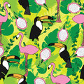 Seamless pattern with pink flamingos, toucan, green leaves and dragon fruit. Design for fabric, decor, card.