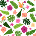 Seamless Pattern of Pink Flowers, Hibiscus and Palm Leaves Royalty Free Stock Photo