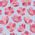Seamless pattern pink flowers, light blue background, pop art style Royalty Free Stock Photo