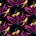 Seamless pattern. Pink flowers lonicera on black background. Vector Eastern illustration.