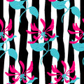 Seamless pattern. Pink flowers lonicera on black and white. Vector background.