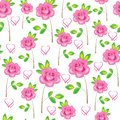 Seamless pattern. Pink flowers, roses and hearts. Suitable as wallpaper, as a gift wrapping for Valentine`s Day. Creates a festiv