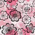 Seamless pattern with pink flowers vector colorful background ornamented vintage graphical Stock Photos