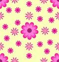 Seamless pattern pink flowers on yellow background
