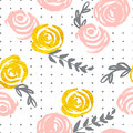 Seamless pattern with pink and gold flowers