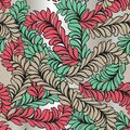 Seamless pattern of pink and green feathers. Decorative ornament Royalty Free Stock Photo