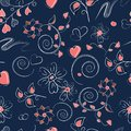 Seamless pattern with pink hearts, curls and flowers