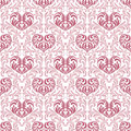 Seamless pattern. Pink hearts made in swirls, leaves and floral