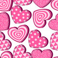 Seamless pattern with pink hearts Valentine's Day