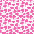 Seamless pattern. Pink hearts on a white