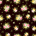 Seamless pattern with pink orange and yellow roses on brown vector illustration vintage english a background Royalty Free Stock Image