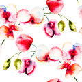 Seamless pattern with pink orchids flowers watercolor illustration Stock Image