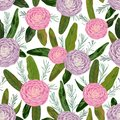 Seamless pattern with pink and purple camellia flowers, rosemary and protea leaves. Decorative holiday floral background.