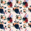 Seamless pattern with pink red burgundy marsala Navy Blue flowers and leaves floral feathers pattern for wallpaper