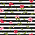Seamless pattern with pink and red poppy flowers in botanical st Royalty Free Stock Photo