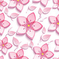 Seamless pattern with pink sakura and leaves