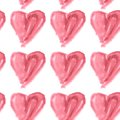 Seamless pattern of pink watercolor hearts on a white background