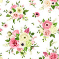 Seamless pattern with pink and white flowers. Vector illustration. Royalty Free Stock Photo