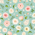Seamless pattern with pink and white flowers. Vector illustration.