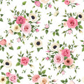 Seamless pattern with pink and white roses, lisianthus and anemone flowers. Vector illustration. Royalty Free Stock Photo