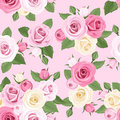 Seamless pattern with pink and white roses on a pink background illustration of rosebuds leaves Stock Image