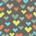 Seamless pattern with pixel hearts on a dark background for textiles interior design for book design website Stock Photo