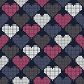 Seamless pattern with pixel hearts for textiles interior design for book design website background Royalty Free Stock Photography