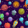 Seamless pattern with planets and space ships