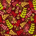 Seamless pattern: plants, flowers, insects and doodles on a burgundy background. Flat vector.