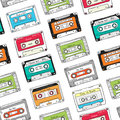 Seamless pattern, plastic cassette, audio tape with different music. Hand drawn colorful background, retro style.