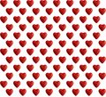 Seamless pattern, plastic hearts on white background. Top view, valentines love concept Royalty Free Stock Photo