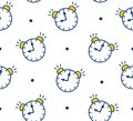 Seamless pattern in polka dot with alarm clock on white background. Thin line flat design. Vector Royalty Free Stock Photo