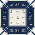Seamless pattern polka dot with anchors