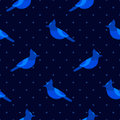 Seamless pattern in polka dot with blue jay. Ornament for textile and wrapping. Royalty Free Stock Photo
